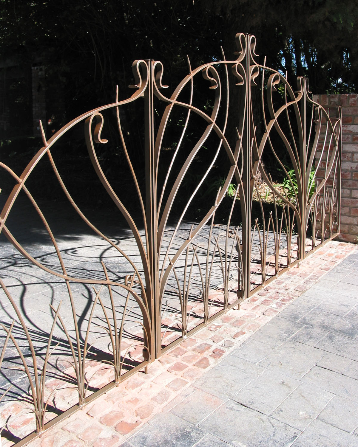Aged Hand Forged Iron Scroll Gate