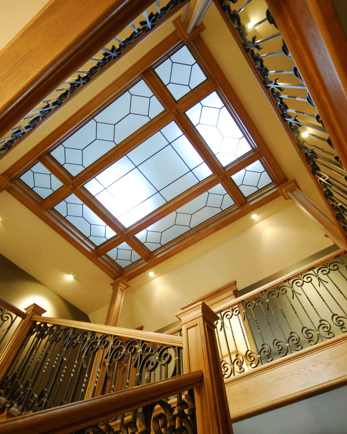 Handcrafted Wrought Iron Balustrade & Skylight