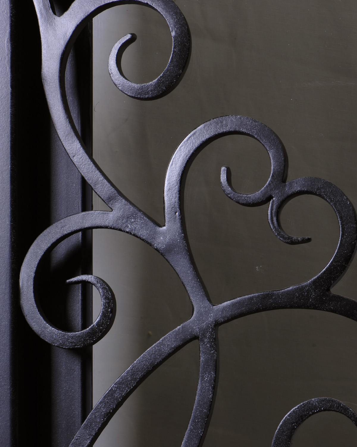 Handcrafted wrought iron scrollwork