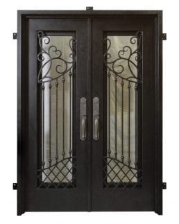 Handcrafted iron doors with wrought iron scrollwork