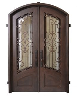 Verona custom made iron doors with arched frame